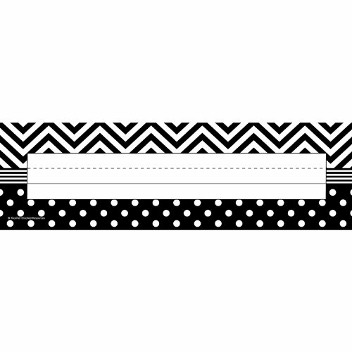Teacher Created Resources 5549 Black and White Chevron and Dots Name (Black Desk Plate)
