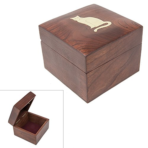 (Handmade Wood Square Box Carved by Traditional Artisans of India- Wood Box Storage-Square Wood Box for Trinkets-Cat Charm,4.5)