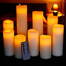 "Ry-king 4"" 5"" 6"" 7"" 8"" 9"" Pillar Flickering Flameless LED Candles with 10-key Remote Timer, Set of 9"