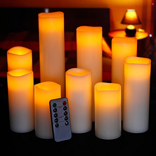 Ry-king 4″ 5″ 6″ 7″ 8″ 9″ Pillar Flickering Flameless LED Candles with 10-key Remote Timer, Set of 9