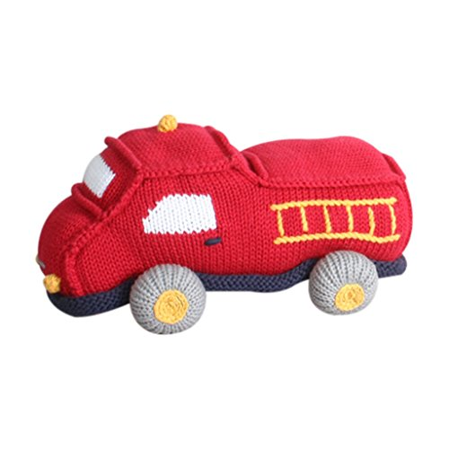 Zubels Baby Hand-Knit Chuck The Fire Truck Plush Doll Toy, All-Natural Fibers, Eco-Friendly, 6-Inch
