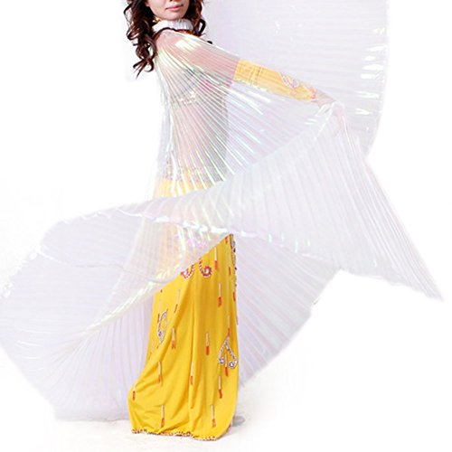 [BellyLady Transparent Belly Dance Costume Isis Wings With Sticks, Gift Idea WHITE] (Dance Hire Costumes)