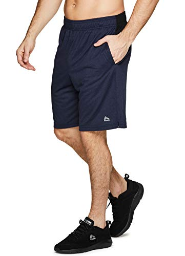 (RBX Active Men's Athletic Gym Basketball Shorts with Pockets SP.19 Navy XL)