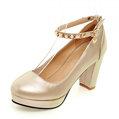 39d4f20ef11 Summerwhisper Women s Elegant Round Toe Platform Pumps Chunky High Heel  Rivets Ankle Strap Shoes hot sale
