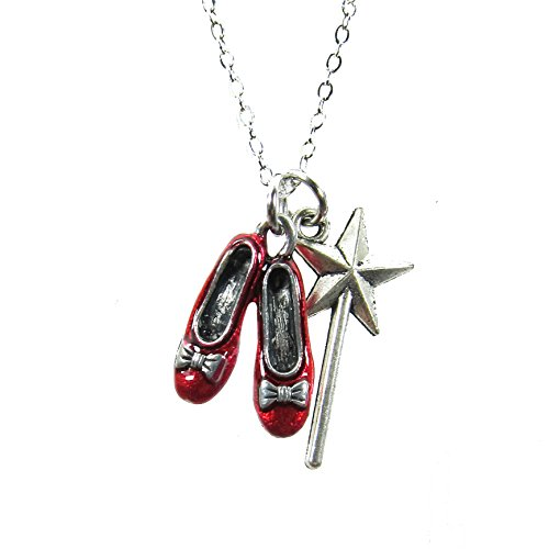 Ruby Slipper Necklace - Wizard of Oz with Magic Wand