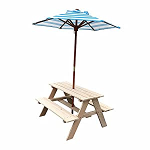 Bestmart Inc Naturally Sit and Play wooden Picnic Table bench with Umbrella
