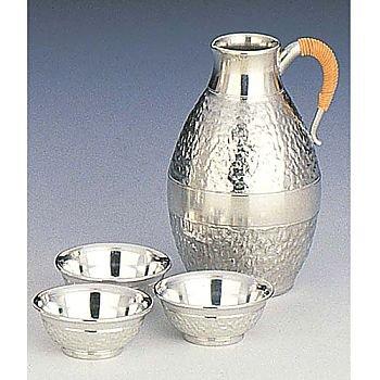 Osaka Naniwa Suzuki,Japanese Pure Tin Sake Serving Set /12-4 SHIRO IWAME