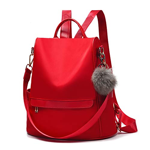 - Women Backpack Purse Nylon Anti-theft Fashion Casual Lightweight Travel School Shoulder Bag (Red)