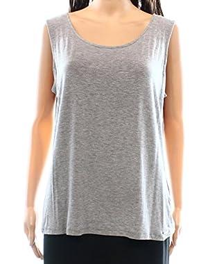 Calvin Klein Women's Tank Cami Solid Stretch Blouse Gray XL