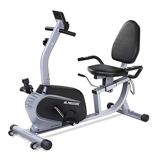 MaxKare Recumbent Exercise Bike Indoor Cycling Stationary Bike with Adjustable Seat and Resistance, Pulse Monitor/Phone…