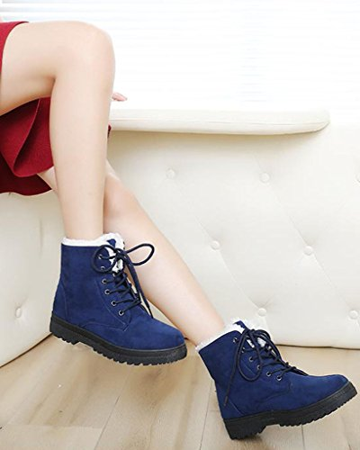 Up Minetom Snow Blue Lined Sneaker Platform Flat Suede Winter Boots Fur Lace Shoes Womens RxPrRv
