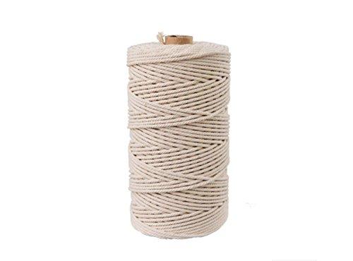 Ialwiyo Natural Cotton Macrame Wall Hanging Plant Hanger Craft Making Knitting Cord Rope Natural Color (3mm X 100m)