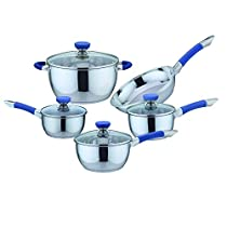 9 Piece Non-Stick Stainless Steel Cookware Set Color: Blue