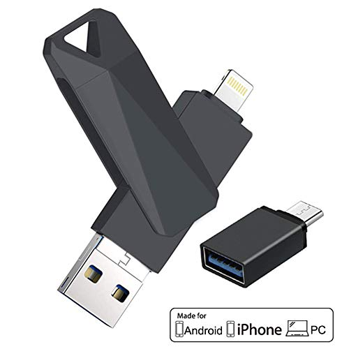 USB Flash Drives for iPhone 128GB 4 in 1 iOS Memory Stick OTG Jump Drive Thumb Drives External Micro USB Memory Storage Drive for iPhone, iOS, Android, PC (Black)