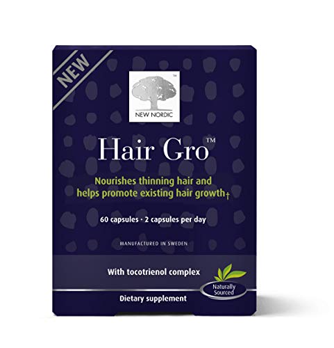 New Nordic Hair Gro, 60 Tablets Hair Growth Supplement, Biotin, Palm Fruit Extract, Naturally Sourced Ingredients