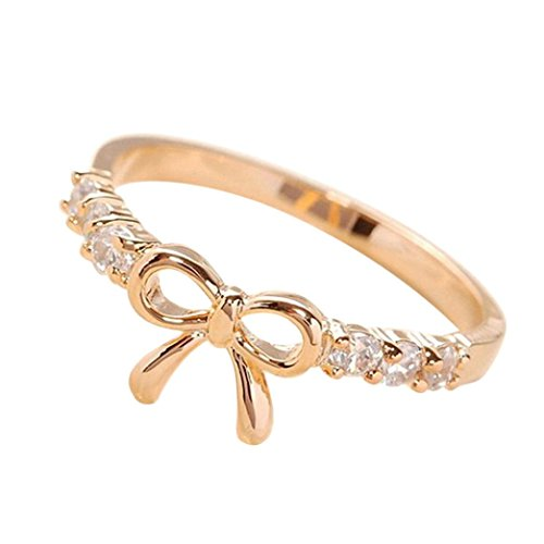 BEUU 2018 Hot The New Simple Cute Bowknot Ring Fashion Fashionable Woman Minimalistic Rings For Women Jewelry Women'S (Gold)