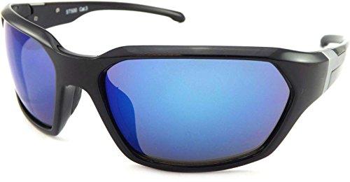 soleil de Lunettes Medium Mirror Noir Shiny Stone Blue Black Homme fS6Eqxw4x