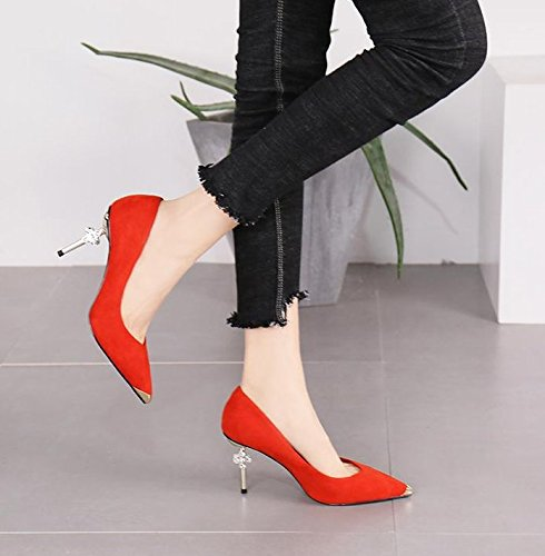 Heel Elegant Spring Heels Metal Shallow MDRW Drill Work Pointed 5Cm Sexy High Fashion Suede Red Head Elegance Shoes Mouth Leisure 35 Head Single Water Lady 8 SIIwR