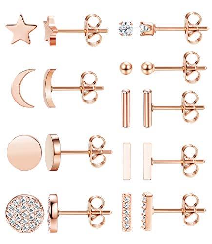 - FIBO STEEL 9 Pairs Stainless Steel Star Moon Stud Earrings for Women Girls Cute Bar CZ Stud Earring Set Rose Gold