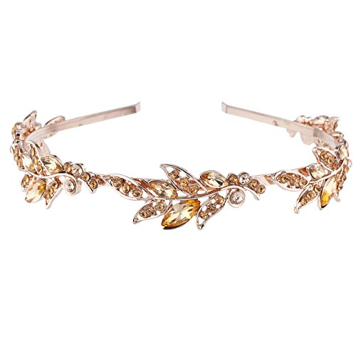Lux Accessories Rose Gold Tone Bridal Flower Stone Hair Crown Headband