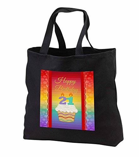 Price comparison product image Beverly Turner Birthday Design - Cupcake with Number Candles, 21 Years Old Birthday - Tote Bags - Black Tote Bag JUMBO 20w x 15h x 5d (tb_244920_3)