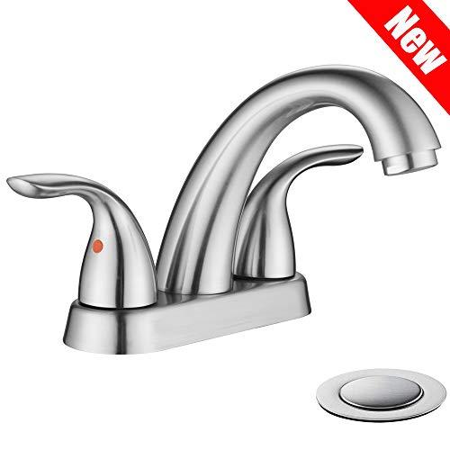 (PHIESTINA Brushed Nickel Stainless Steel Bathroom Lavatory Vanity Basin Vessel Sink Faucet, Brushed Nickel Bathroom Faucet With Copper Pop Up Drain, BF008-5-BN)