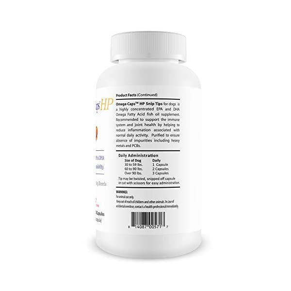 PHS Omega-Caps High-Potency (HP) Snip Tips for Medium and Large Dogs - Omega-3 Fatty Acids, Vitamins, Antioxidants - Supports Immune System, Joints, Heart, and Brain - Made in USA - 250 Capsules 2