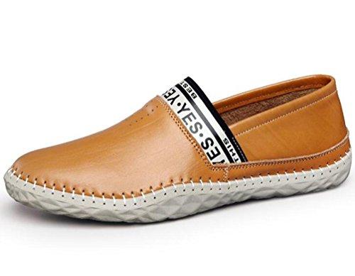 Mocasines de caballero Cuero cómodo Decoración de cuero Slip-ons Low Top Moda antideslizante Wareable Soft Soles Zapatos de ocio UE Tamaño 39-44 yellow brown