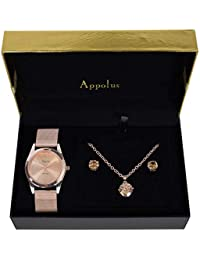Valentine Gifts For Women - Appolus Watch Necklace Earrings Gift Set For Mom Wife Girlfriend Fiancee Birthday Anniversary Graduation - Cubic Zirconia Stones (RoseGold)