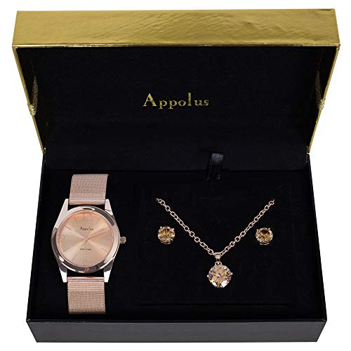 - Gifts For Women Mom Wife Girlfriend Birthday Anniversary Graduation - Appolus Watch Necklace Earrings Gift Set With Cubic Zirconia Stones (RoseGold)