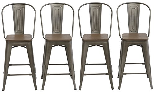 Back Wood Seat Stool (BTExpert Industrial Metal Vintage Antique Copper Bronze Rustic Distressed Dining Counter Height Bar Stool Chair High Back Handmade Wood Top Seat, Set of 4)