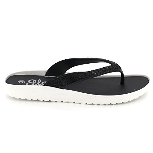 AARZ LONDON Womens Ladies Sparkly Diamante Open Toe Casual Comfort Flat Slip-On Low Heel Jelly Sandals Shoes Size Black OG5n0