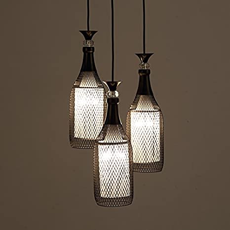 yupd lámpara colgante Tres botellas forjado hierro luz ...