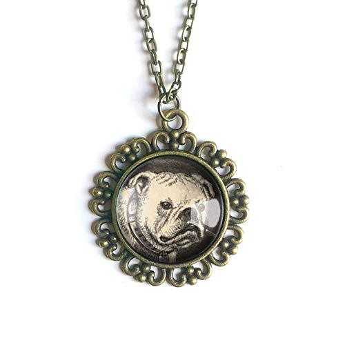 Bronze English Pendant - English Bulldog pendant necklace