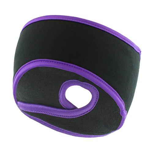 Black & Purple Winter Fleece Ponytail Headband, Ear Warmers, Sport Sweatband