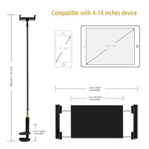 Foraco iPad Holder, Adjustable Metal Gooseneck Desk Mount/Bed Stand with Lazy Arm for 4-14 Inches Tablets and Smartphones (iPhone, Kindle, Fire Tablets etc.) by Foraco (Image #1)