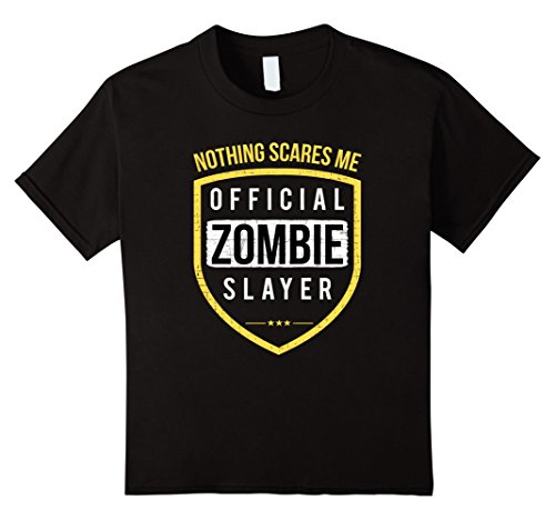 Kids Zombie Slayer Costume tshirt for all friends of Zombies 12 Black