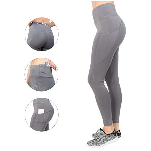 - Volarium High Waisted Leggings with Pockets: Yoga Pants for Women, Workout Clothes for Running Sports Exercise Fitness Gym Gray
