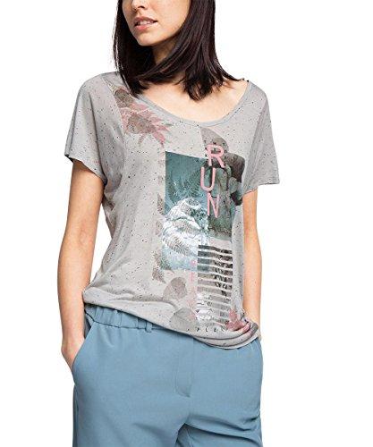 edc by Esprit Mit Print, Camiseta para Mujer Gris (MEDIUM GREY 035)