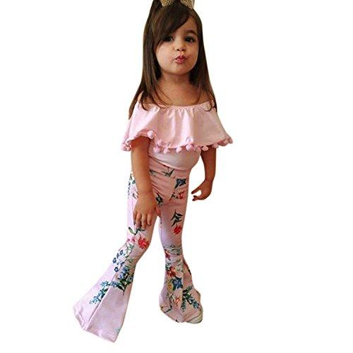 2Pcs Toddler Girls Tassel Off Shoulder Tops+Floral Bell-Bottomed Pants Set (3T, Pink) ()