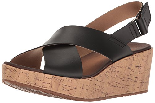 Leather Clarks Sandal Stasha Hale4 WoMen Cork Black Print Wedge With wqYwRT