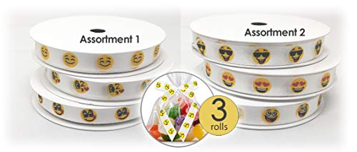 (3 Assorted Rolls Emoji Emoticons Soft Polyester Ribbon 1/2 inch Wide - 31.5 Feet Total - Great as Emoji Party Favor Accessory, Emoji Party Supplies or for Emoji Gift)