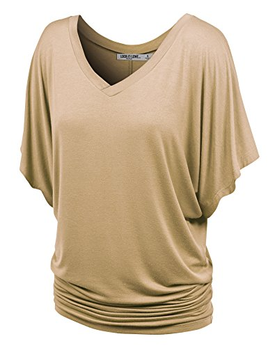 (Lock and Love WT1038 Womens V Neck Short Sleeve Dolman Top L Taupe)