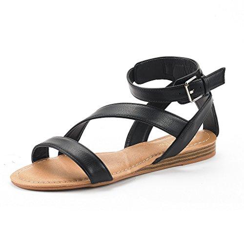 DREAM PAIRS Nora New Women Open Toe Fashion Buckle Crisscross Valcre Ankle Straps Summer Design Flat Sandals Black Size 8
