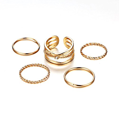 Friendship 1mm Plain Twisted Band Ring Bohemian Crystal Adjustable Open Size Knuckle Stacking Midi Ring Sets 5pcs Comfort Fit Gold Tone for Women -