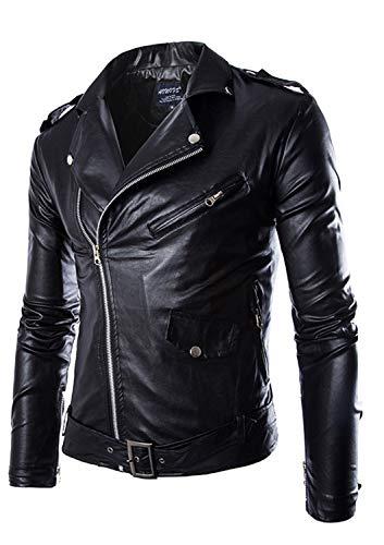 Soluo Men's Faux Leather Jacket Motorcycle Lapel Bomber Punk Irregular Zipper Coat Overcoat Outwear