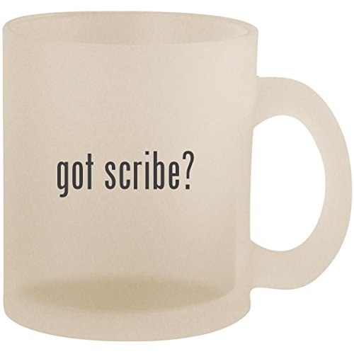 got scribe? - Frosted 10oz Glass Coffee Cup Mug (Tungsten Metal Stylus)