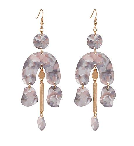 Order Eco Friendly Resin (Women's Mottled Drop Earrings Marble Texture Chandelier Dangle Earrings Statement Acrylic Resin Hook Earrings for Girls (Gray))