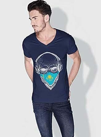 Creo Kazakhstan Skull T-Shirts For Men - Xl, Blue