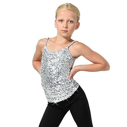 (Alexandra Collection Sparkly Sequin Tank Top - Silver - Youth)